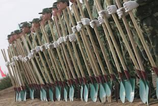 soldats qui plantent des arbres