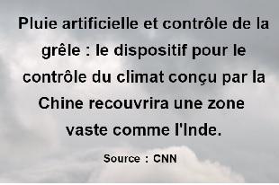 contrôle du climat à très grande échelle en Chine
