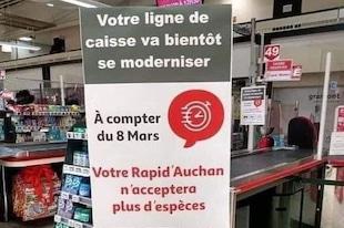 Boycottez Auchan et ceux qui refusent l'argent liquide !