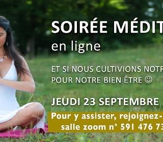 Soirée méditation en ligne, le 23 septembre